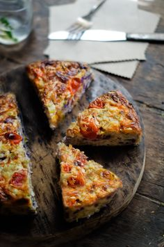 Cabbage, leek and tomato frittata