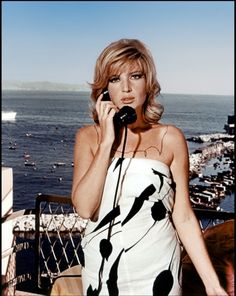 Portrait of Monica Vitti on the set of Modesty Blaise directed by Joseph Losey, 1966