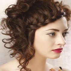 French Braid Fringed Short Curly Hairstyles