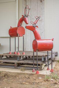 Pair of Recycled Red Metal Reindeer