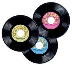 Three plastic records are a great way to decorate for your 50's them party. Each package includes three records, each with a unique design. Use these fake plastic records as decorations or even hand them out as party favors at a 50's rock n roll party.