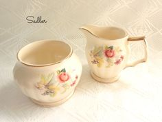 Vintage Sadler Cream and Sugar Bowl Gold Decoration Pattern No. 3540 Roses Grapes