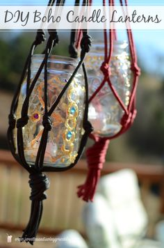 Make these boho macramé lanterns for a candle lit room or flower vase. Endless possibilities!