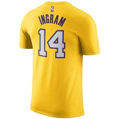 Nike Men's Brandon Ingram Los Angeles Lakers Name & Number Player... ($35) ❤ liked on Polyvore featuring men's fashion, men's clothing, men's activewear, men's activewear tops and yellow