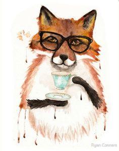 Cuppa Tea for Fox - Folk Art Giclee Print 8x10, 11x14 by KilkennyCatArt on Etsy https://www.etsy.com/listing/277940596/cuppa-tea-for-fox-folk-art-giclee-print