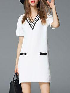 White Knitted Casual Stripes V Neck Mini Dress