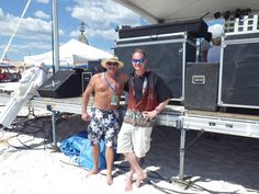 Backstage at The 2016 Jimmy Buffet Parrothead Rendezvous ramping up for a live broadcast. Panama City Beach, FL Danny Lynn The Tiki Man on the left and Johnny B. Tiki Man, Panama City Beach, Reggae, Backstage, Buffet, Tours, Island, Live, Buffets