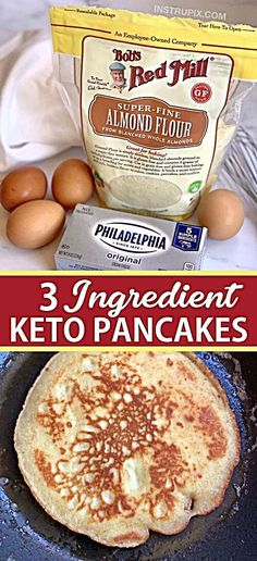 The BEST 3 Ingredient Keto Pancakes (made with almond flour, cream cheese & eggs). - Looking for easy healthy keto breakfast ideas? These quick and easy 3 ingredient keto pancakes are - Ketogenic Diet For Beginners, Ketogenic Recipes, Low Carb Recipes, Diet Recipes, Flour Recipes, Health Recipes, Smoothie Recipes, Crockpot Recipes, Recipies