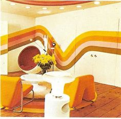 Omg we had almost this exact wallpaper in my playroom in the 70-80s with orange shag carpet of course and white faux fur bedspreads. Lol. Love it