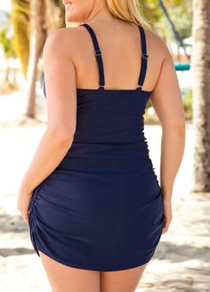 ef99b9e0ff Ruched Side Navy Plus Size Swimdress and Panty