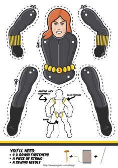 Superhero Black widow as a Jumping Jack. Dowload template free. Another cool superhero cut out puppet.