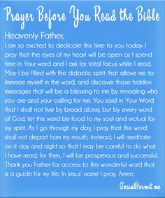 Prayer before you read the Bible