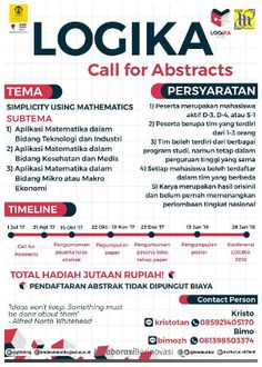 #LOGIKA2018 #LKTI #CallForAbstract #UI #Depok Konferensi LOGIKA UI 2018 Call For Abstract  DEADLINE: 31 Agustus 2017  http://infosayembara.com/info-lomba.php?judul=konferensi-logika-ui-2018-call-for-abstract