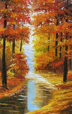 Print Texture on canvas fromPainting Canadian Autumn Landscape Sunny Fall Trees Maple Park Colorful Red Orange Home decor ART by Marchella