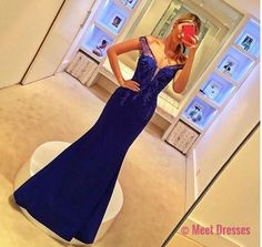 Lace Prom Gown,Royal blue Prom Dresses,Off The Shoulder Evening Gowns,Mermaid Formal Dresses,Royal blue Prom Dresses PD20181705