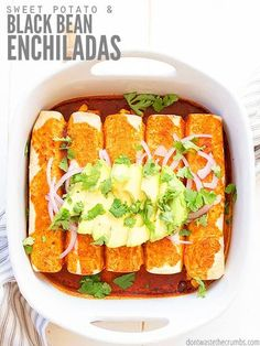 Try this delicious recipe for roasted Sweet Potato Black Bean Enchiladas. It's healthy, vegan-friendly and always a family favorite! Top with cilantro, diced avocado, diced tomatoes and our homemade lime crema! #healthy #vegan #bake #casserole #avocadolimecrema #dontwastethecrumbs Rib Recipes, Vegetarian Recipes Easy, Potato Recipes, Salad Recipes, Healthy Recipes, Cauliflower Recipes, Sausage Recipes, Pasta Recipes, Chicken Recipes