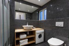 Intense Forest Resort as Chic Residence : Black Pixeled Wall Decor Modern Minimalist Bathroom Design