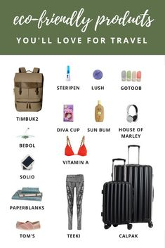 Eco-Friendly Travel Products You Will Love  A lot of nice readers have emailed asking for tips on how to travel green and although I am not totally education on this matter, there are some products I use because I know they either won't harm the environment or because they save on plastic. I thought I'd share my favorite eco-friendly travel products so you can possibly try to switch over to them on your next trip.
