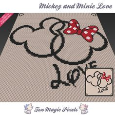 Mickey and Minnie Love crochet blanket pattern; c2c, cross stitch; graph; pdf download; no written counts or row-by-row instructions by TwoMagicPixels, $3.99 USD