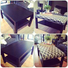 DIY IKEA coffee table turned ottoman.