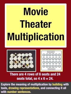 Movie Theater Multiplication: Learn the conceptual meaning behind multiplication by building, drawing and writing number sentences. $