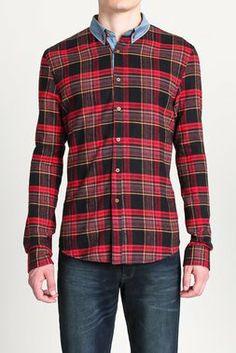 Plaid Woven with Contrast Collar