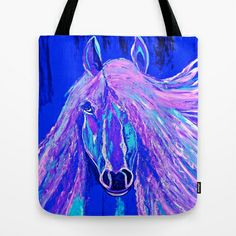 Dream Horse Abtract Blue Tote Bag by Saundra Myles - $22.00