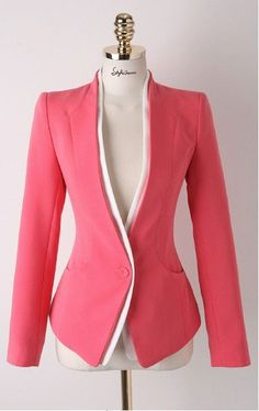 SheIn offers Red Long Sleeve Single Button Slim Blazer & more to fit your fashionable needs. Work Fashion, Fashion Design, Red Fashion, Style Fashion, Slim Fit Jackets, Jackett, Jacket Pattern, Work Attire, Blazers For Women