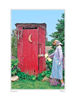 woman visting the outhouse