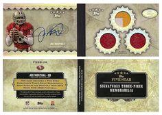 Joe Montana 2012 Topps Five Star FSSB-JM Signature Booklet (AU 3 Patch) (Rainbow) (#3/5)