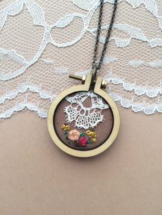 Boho Lace Necklace, Embroidered Flowers With Vintage Lace Trim, Boho Wildflowers, Wildflower Pendant, Boho Flower Necklace