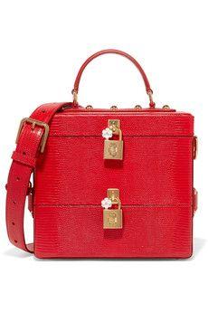 Dolce & Gabbana - Embellished glossed lizard-effect leather vanity case