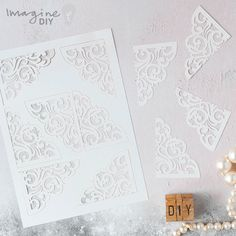 White laser cut corners. DIY wedding invitation and stationery supplies. Make your own wedding stationery
