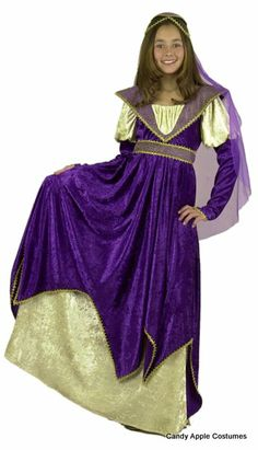 Child's Maiden of Verona Costume - Candy Apple Costumes - Kids' Deluxe Costumes...Show off your Shakespearean side in this deluxe child size Juliet costume. Includes long romantic crushed velvet gown with a rich purple layer over a cream-colored background, with gold trim and a matching headdress. Perfect for your Renaissance Faire, Juliet, or Maid Marian costume!