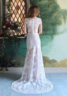 Cheyenne Lace wedding dress full back