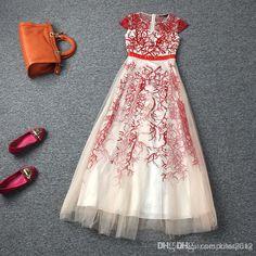 alta calidad, elegante, europeo, estilo americano o de cuello corto de manga larga vestido bordado vestido de noche de