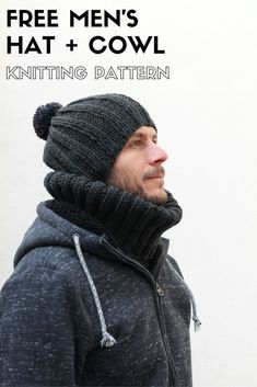 Men's hat and cowl free knitting pattern. An easy project for beginners to make.