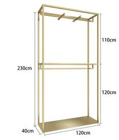 Clothing store clothing shelf on the island of gold double sided frame bag women clothing store show double row floor rack. - AliExpress - Lilly is Love Hanging Clothes Racks, Clothes Shelves, Boutique Interior, Womens Clothing Stores, Women's Clothing, Clothing Racks, Hanging Wardrobe, Clothing Store Displays, No Closet Solutions