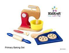 Wooden Primary Baking Set by Kidkraft Baking Mixer, Baking Set, Play Kitchen Accessories, Pretend Play Kitchen, Play Food, Cooking Tools, Cooking Kids, Creative Thinking, Fisher Price