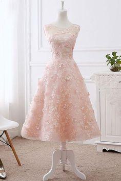 Beautiful Princess Light pink prom dress,Sleeveless Appliques evening