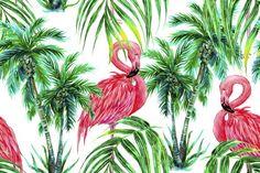 Watercolor flamingos,trees pattern  @creativework247
