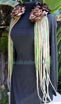 Mixed Blondes & light Green Dread Lock falls by DivaDreads on Etsy