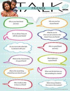 Friends Talk #conversation starters http://imom.com/tools/conversation-starters/friends-talk/