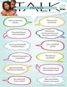Friends Talk #conversation starters http://imom.com/tools/conversation-starters/friends-talk/