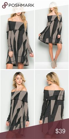 Off shoulder abstract dress in charcoal and taupe! Adorable swing cut in a long sleeve off shoulder dress in charcoal and taupe! *** Ships Wednesday*** Dresses