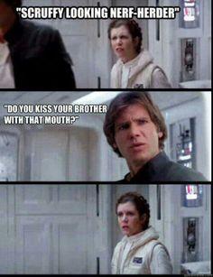 Star Wars Memes | Leia, Han, kiss, brother