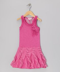 Take a look at this Pink Ruffle Rosette Racerback Dress - Toddler & Girls on zulily today!