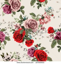 Seamless floral pattern with of red and pink roses on light background, watercolor. Vector illustration.