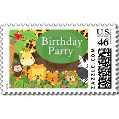 Cute Modern Safari Birthday Party Postage Stamps