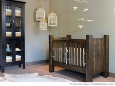 love that crib for a boys room, hanging bird cages, bird mobile, neutral pallette
